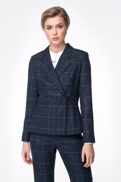 Dark blue jacket with check print
