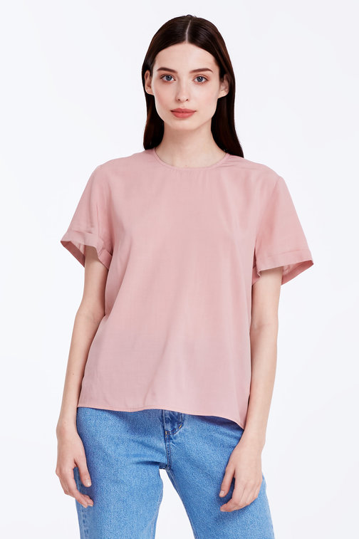 Powder pink top with cuffs