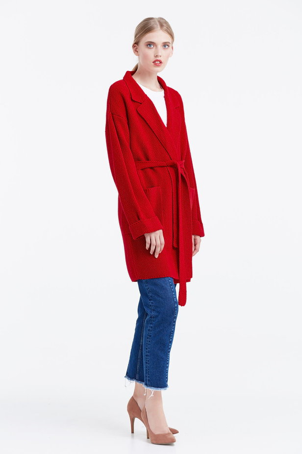 Red cardigan with a belt photo 4 - MustHave online store