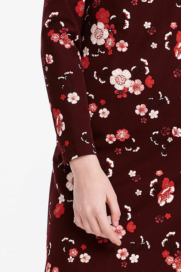 A-line burgundy dress with a floral print photo 6 - MustHave online store