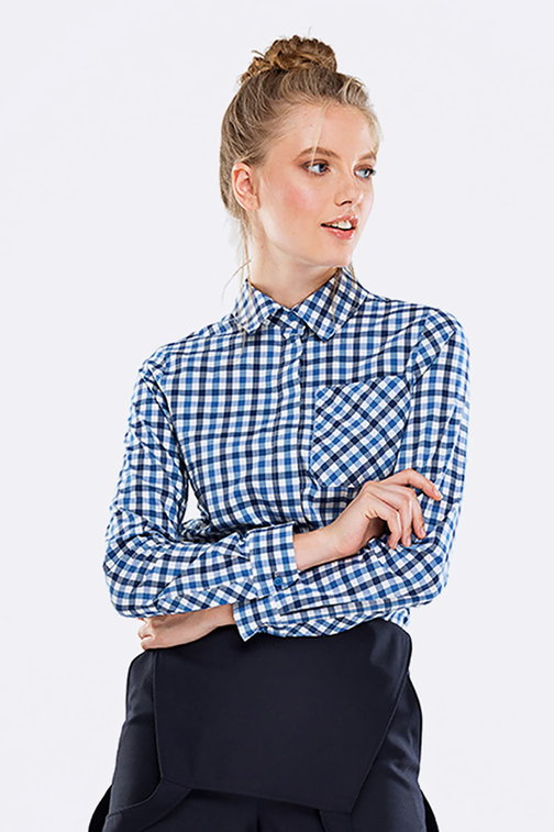 Checked shirt with a concealed placket