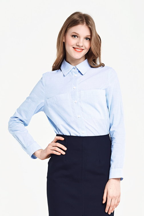 Blue shirt with white stripes