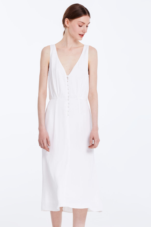 Midi white sundress with buttons photo 1 - MustHave online store