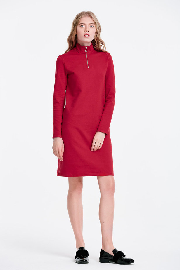 Red dress with a zip photo 4 - MustHave online store