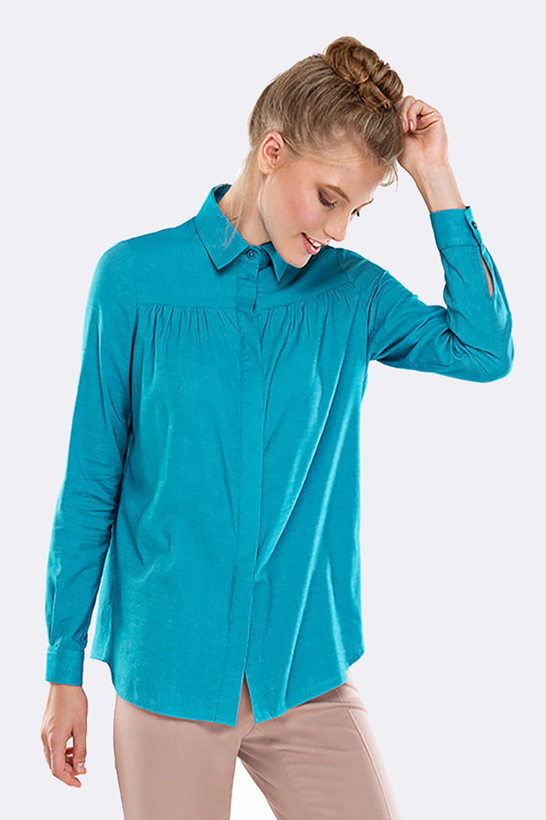 Blue shirt with pleats on the chest photo 1 - MustHave online store