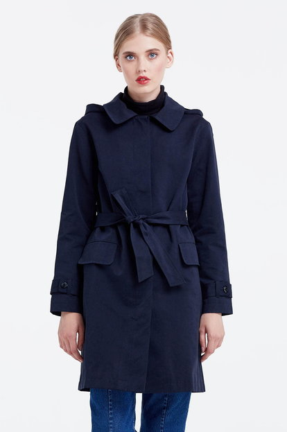 Dark blue trenchcoat with a hood