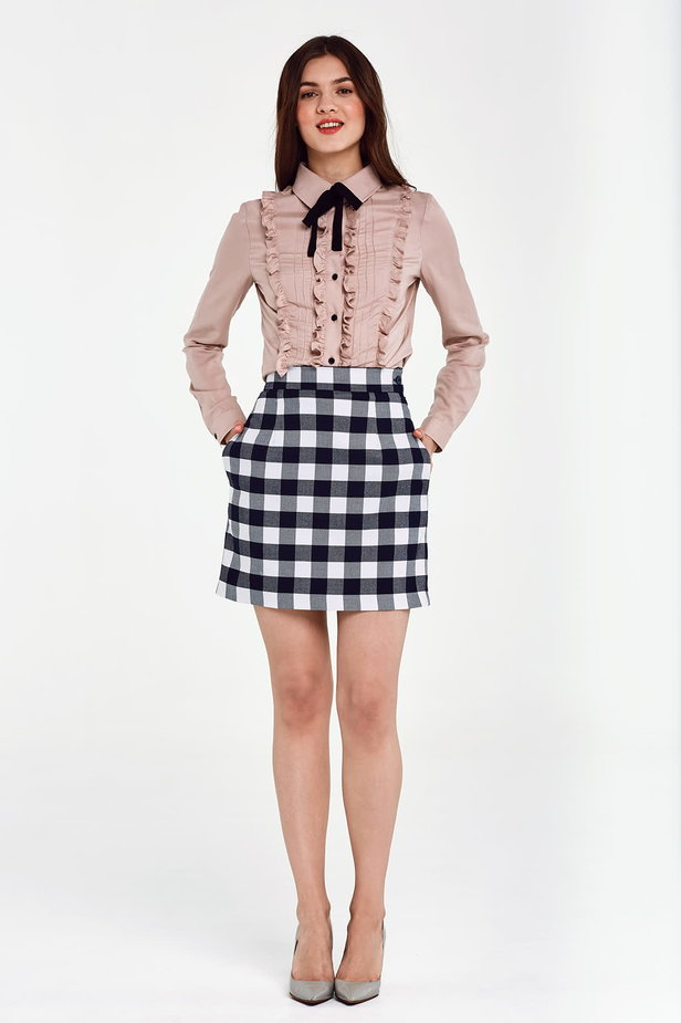 Blue and white checked mini skirt photo 2 - MustHave online store