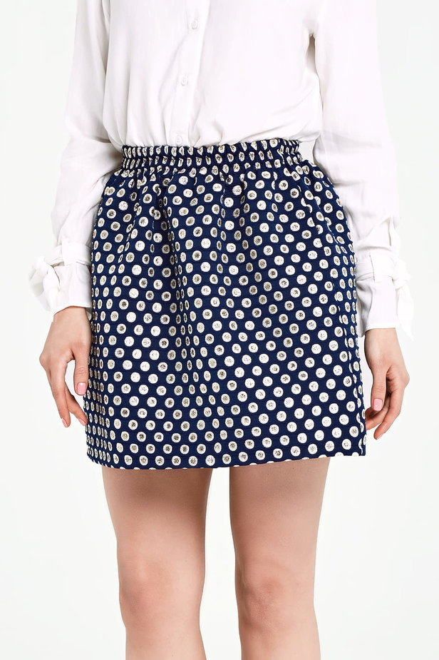 Dark blue skirt with an elastic waistband, polka dot print photo 1 - MustHave online store