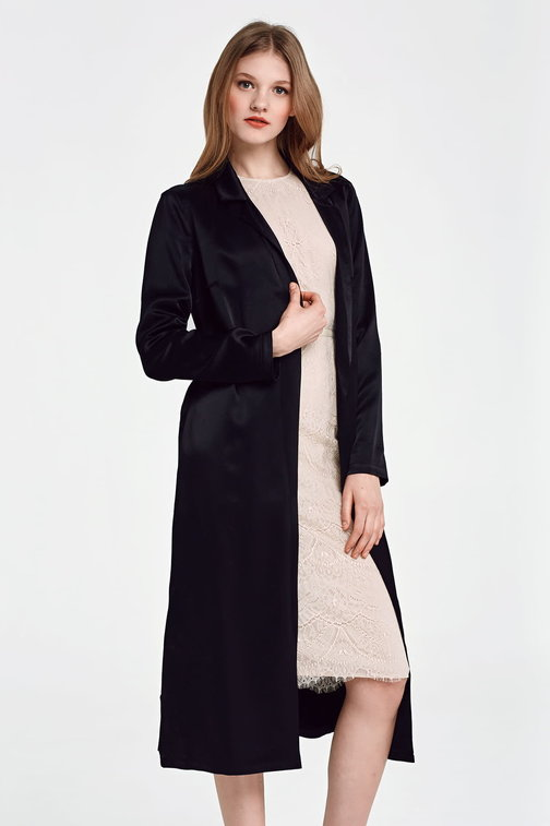 Below the knee wrap black trenchcoat with a belt
