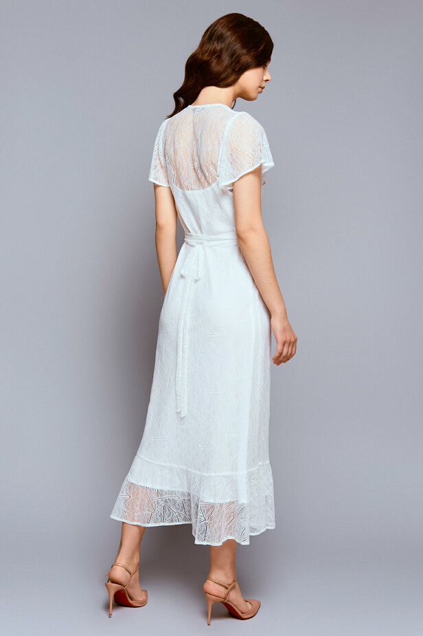 Milky white lace wrap midi dress фото 4 — интернет-магазин MustHave