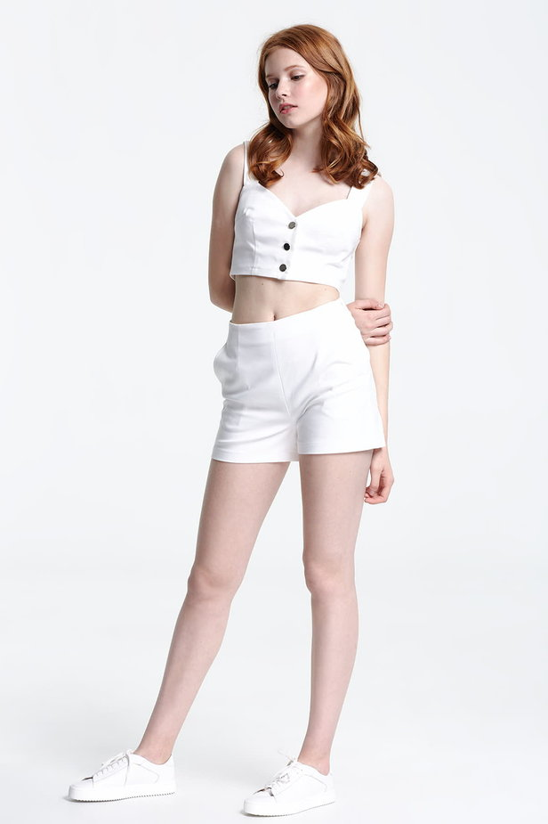 Short white top with buttons photo 3 - MustHave online store