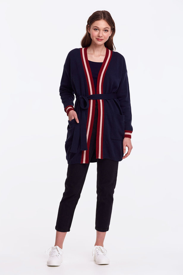 Dark blue cardigan with stripes photo 4 - MustHave online store