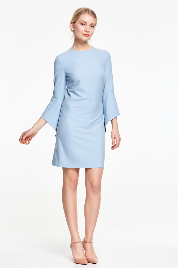 Above the knee blue dress with flounced sleeves photo 2 - MustHave online store