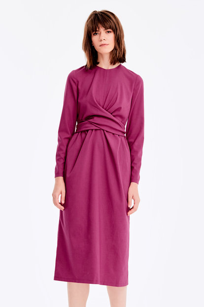 Midi fushia dress with pleats