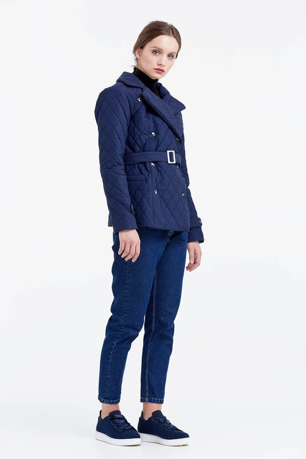Blue coat with a belt photo 5 - MustHave online store