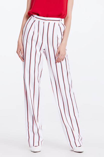 White trousers with blue and red stripes