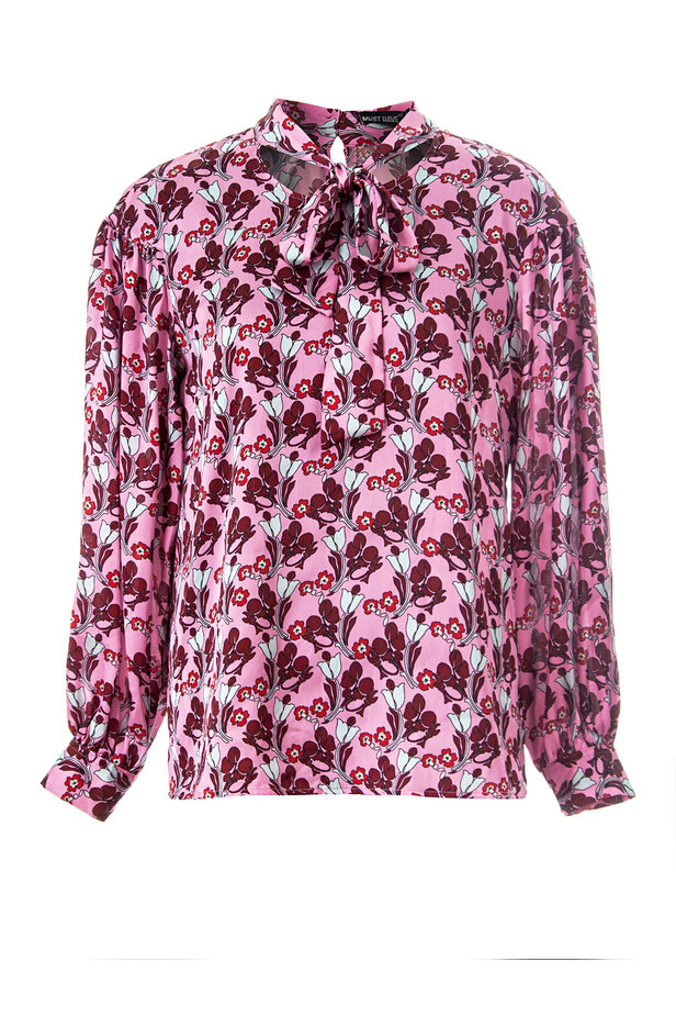 Pink blouse with a floral print and a bow photo 2 - MustHave online store