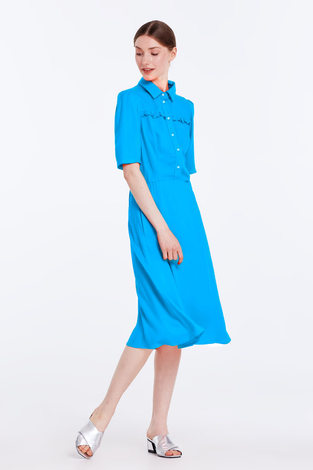 Blue dress with a shirt top photo 4 - MustHave online store