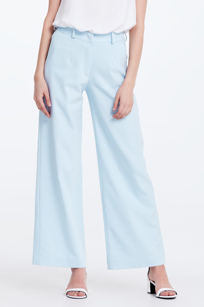 Wide leg blue trousers
