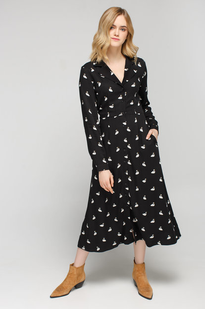 Black midi shirt dress with «swan» print