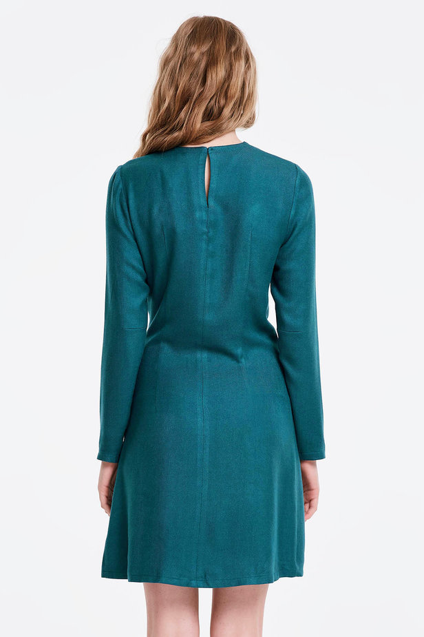 Marine green dress with ties photo 4 - MustHave online store