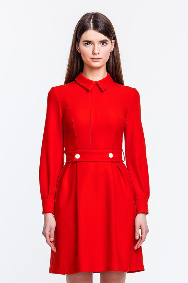 Red dress with a concealed placket and belt photo 1 - MustHave online store