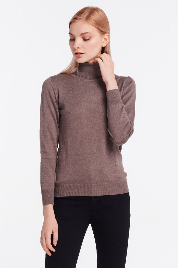 Brown knit polo neck photo 1 - MustHave online store