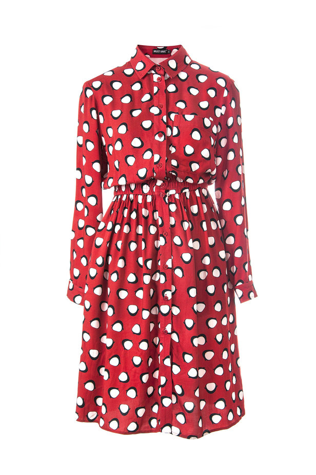 Red shirt dress, penguins print photo 2 - MustHave online store