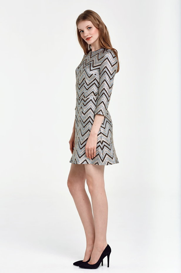 Above the knee A-line blue dress with black and gold zigzag photo 3 - MustHave online store