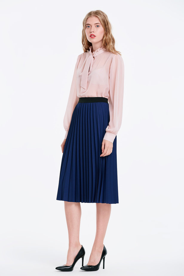Below the knee pleated blue skirt photo 3 - MustHave online store