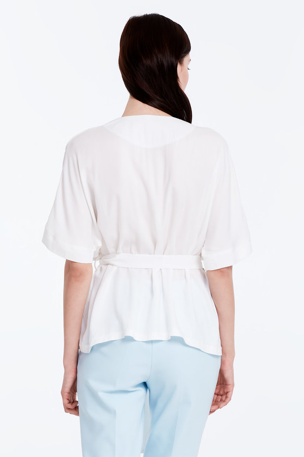 Wrap white shirt with a belt photo 5 - MustHave online store