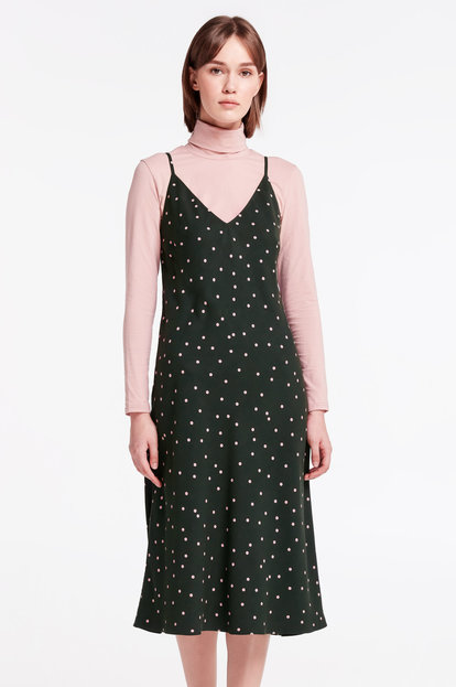 Green sundress with pink polka dot print