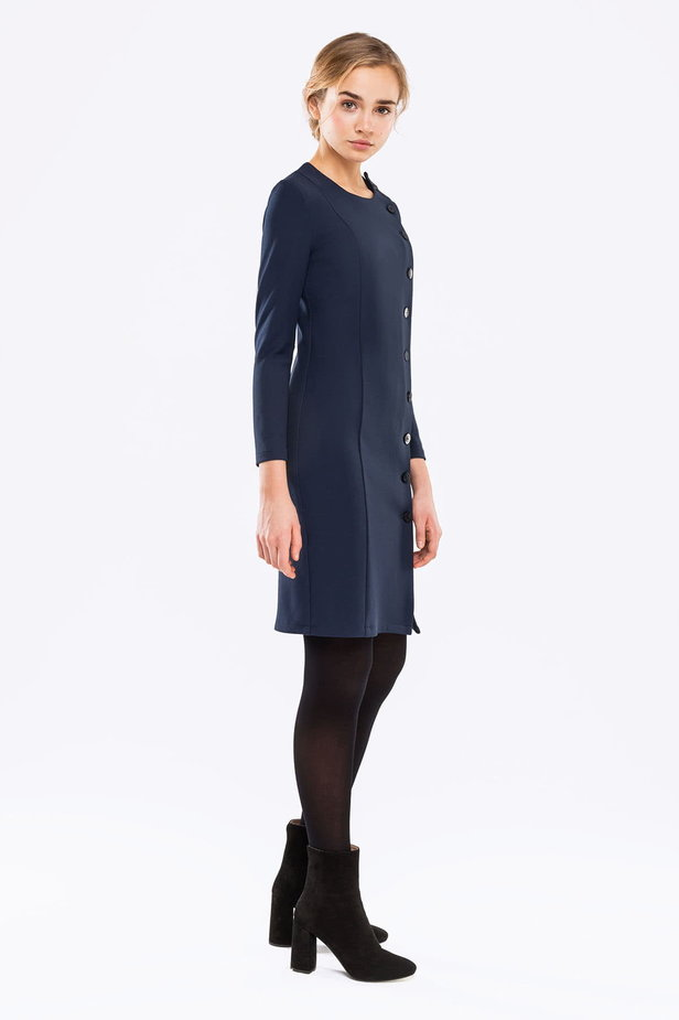 Dark blue dress with buttons photo 4 - MustHave online store