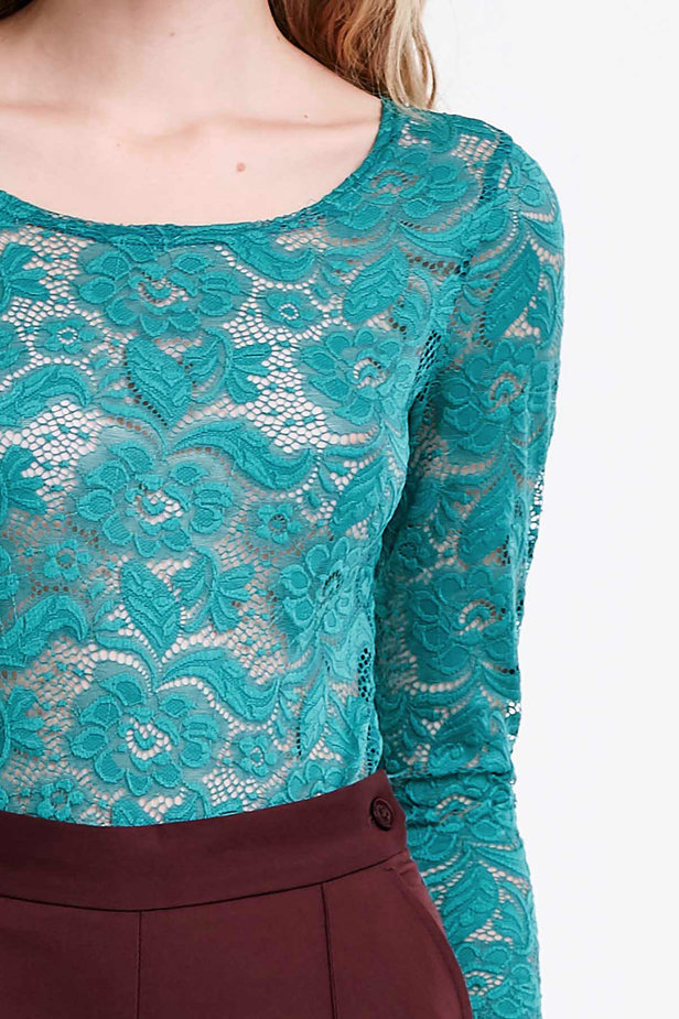 Green lace bodysuit photo 2 - MustHave online store