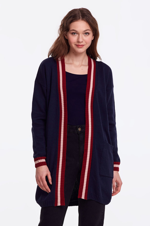 Dark blue cardigan with stripes photo 1 - MustHave online store