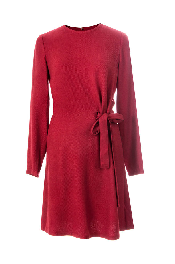 Red dress with ties photo 2 - MustHave online store