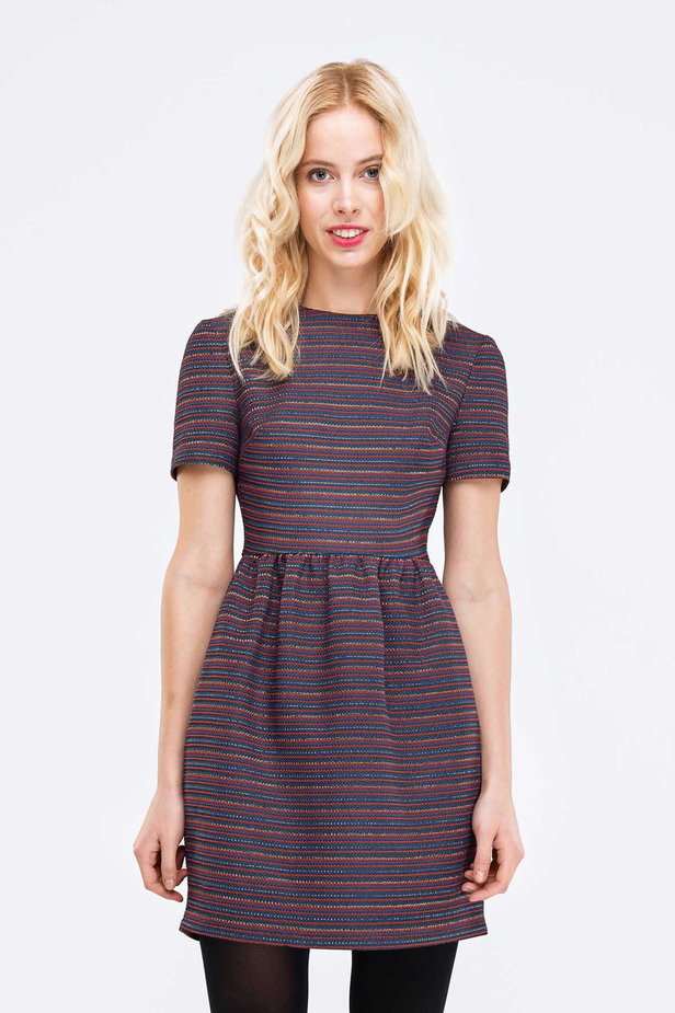 Above the knee striped dress with lurex photo 1 - MustHave online store