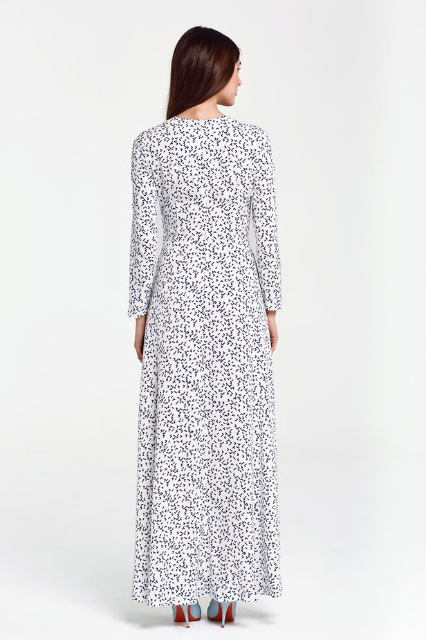 Maxi white dress, blue geometric print photo 3 - MustHave online store