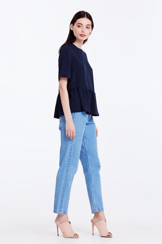 Dark-blue top with a flounce photo 4 - MustHave online store