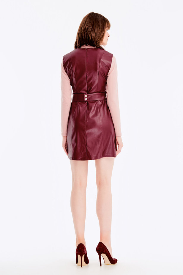 Below-knee burgundy leather dress photo 7 - MustHave online store