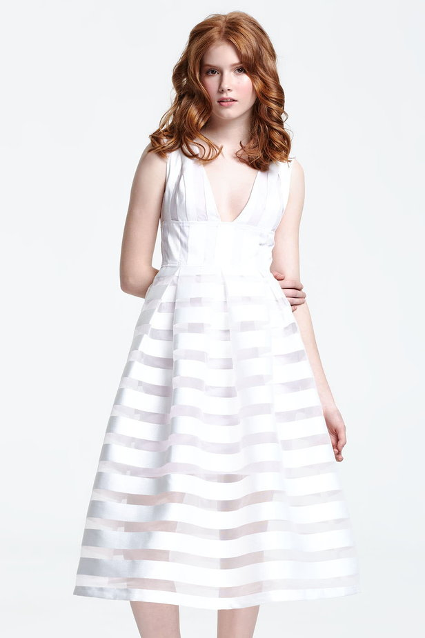 Midi striped white dress with a low neckline photo 1 - MustHave online store