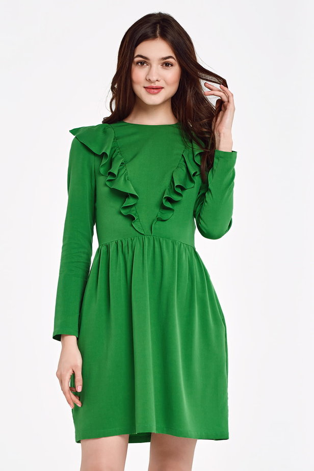 Green dress with ruffles above the knee photo 1 - MustHave online store