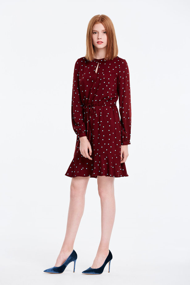 Wine dress with a blue polka dot print and a keyhole photo 5 - MustHave online store