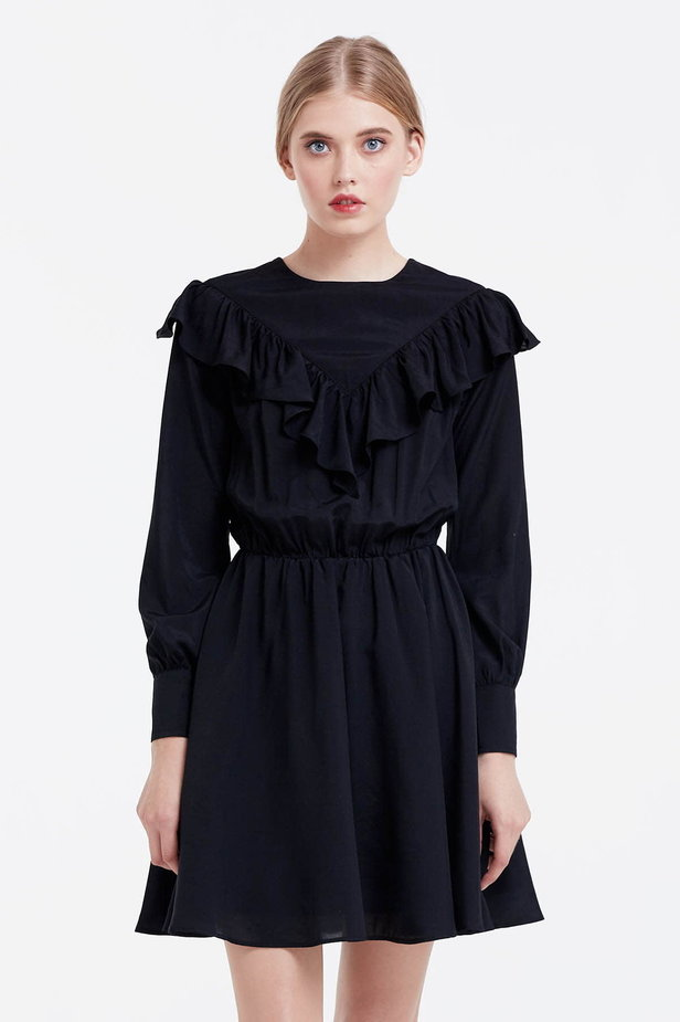 Mini black dress with ruffles photo 1 - MustHave online store