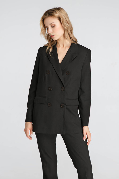 Black Double Jacket With Buttons
