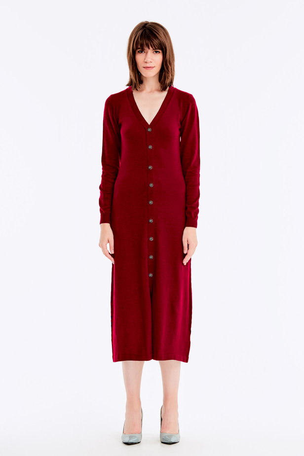 Red knit dress with buttons photo 2 - MustHave online store