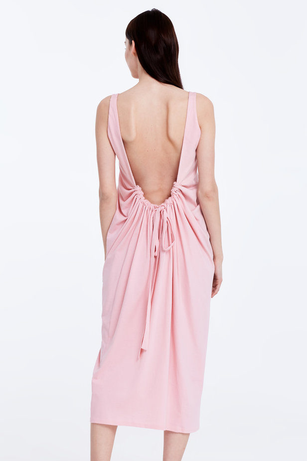 Backless pink dress photo 6 - MustHave online store