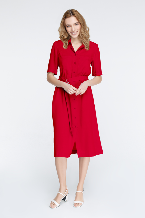 Red button-down dress with chest pockets photo 1 - MustHave online store