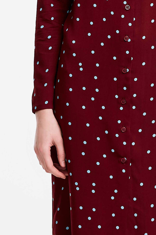 Wine dress with a blue polka dot print and a black bow photo 3 - MustHave online store