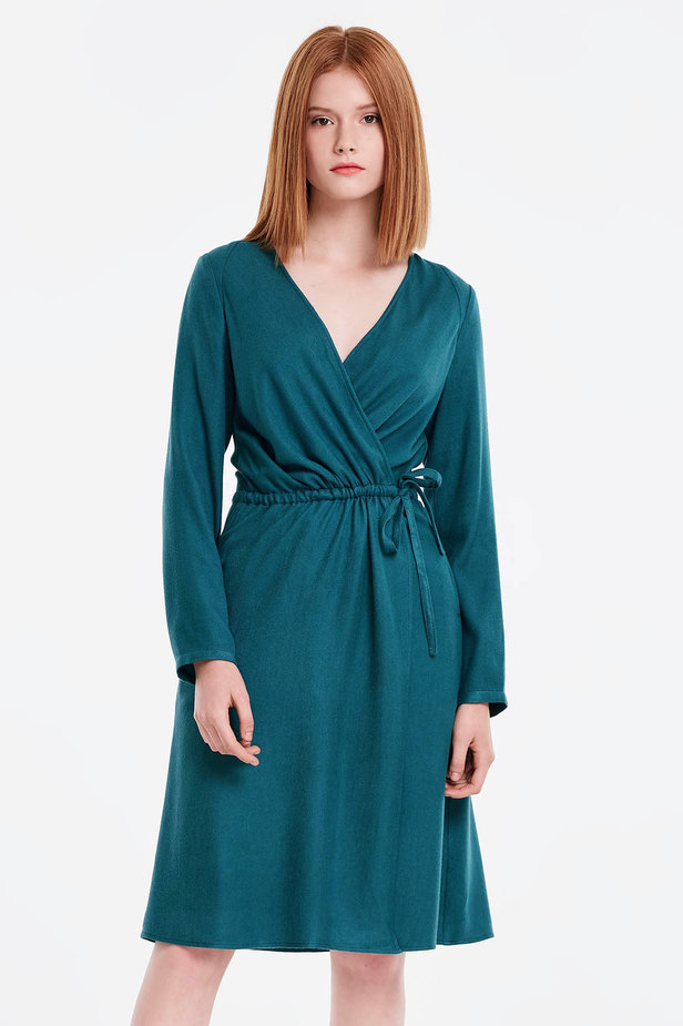 Wrap marine green dress photo 1 - MustHave online store